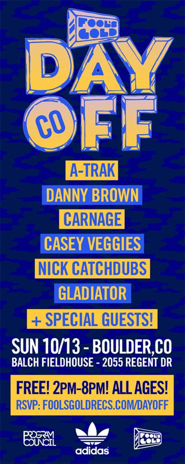 [GIVEAWAY] WIN VIP TICKETS TO THE FREE FOOLS GOLD DAY OFF CONCERTS IN BOULDER, LOS ANGELES or MIAMI with A-TRAK, DANNY BROWN, CARNAGE and MORE!  - Featured Image