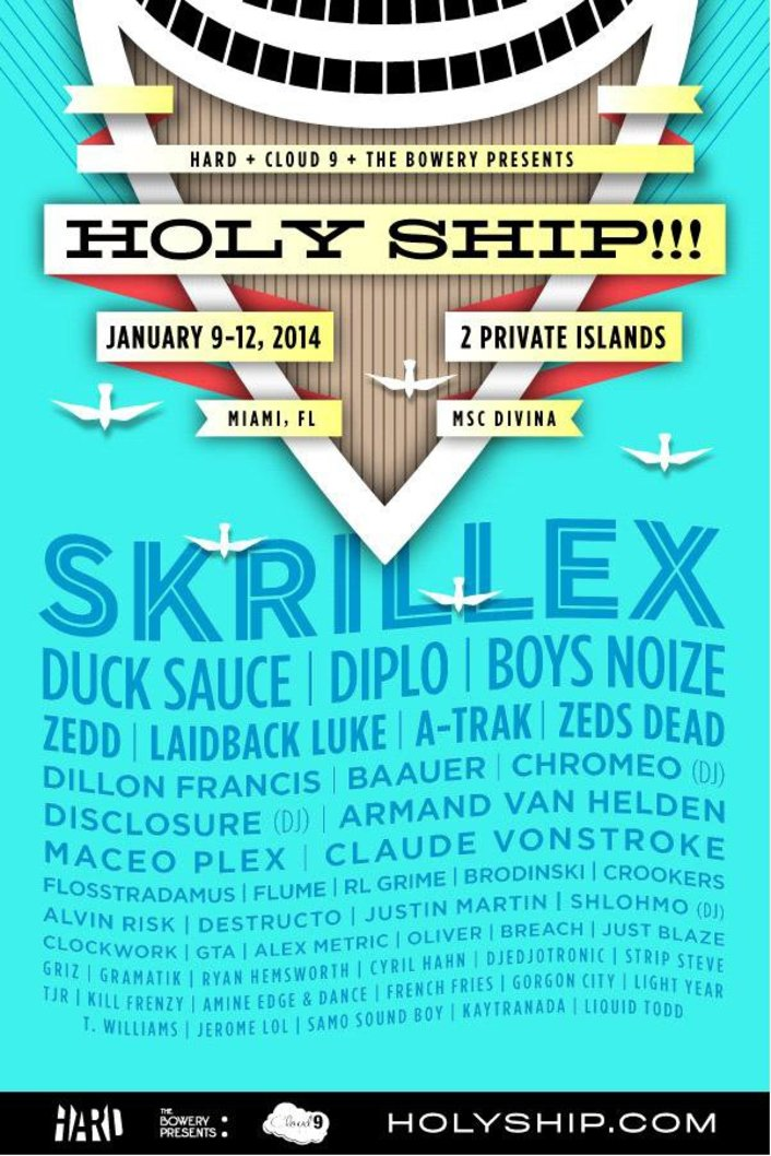 Holy Ship! 2014 Full Massive Lineup for premier Electronic Cruise - Featured Image
