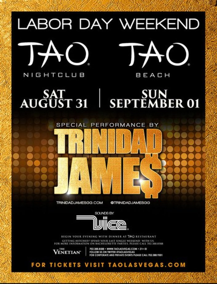 Win a VIP table with bottles to Trinidad James at TAO Las Vegas for Labor Day Weekend  - Featured Image