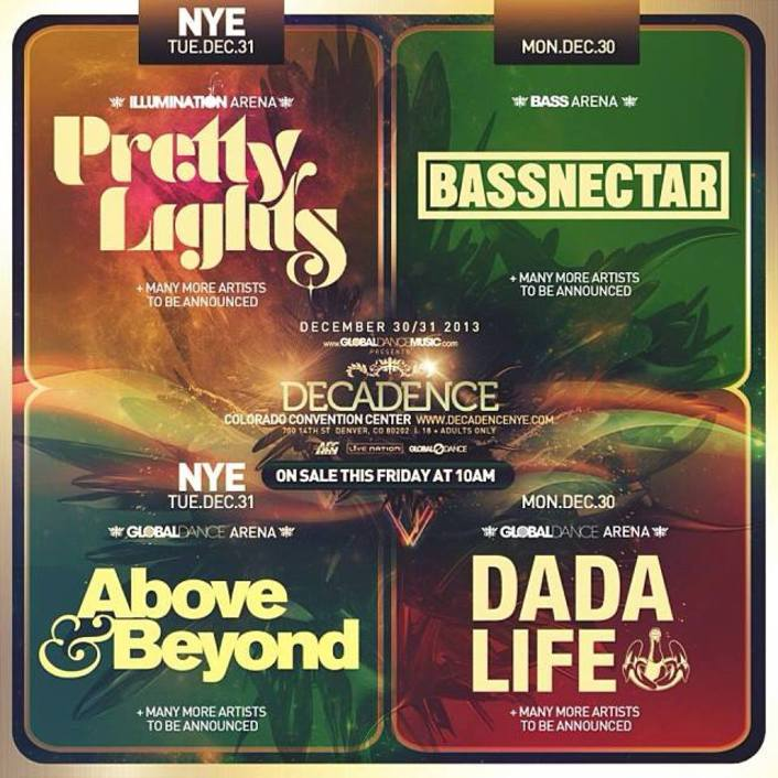[BREAKING NEWS] Pretty Lights, Bassnectar, Dada Life and Above & Beyond to play in Colorado for New Years Eve at Decadence Music Festival  - Featured Image