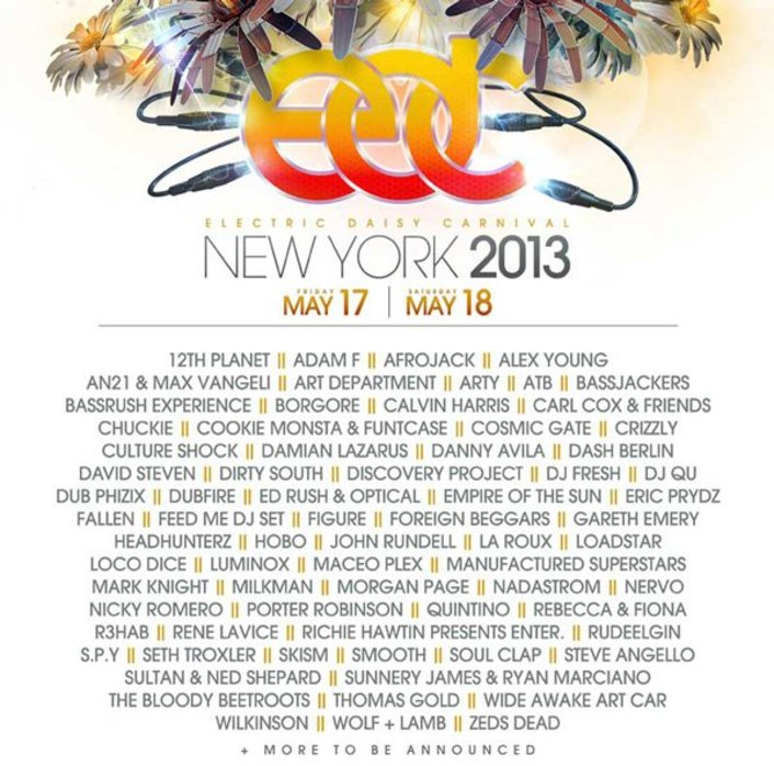 Electric Daisy Carnival New York 2013 Lineup  - Featured Image