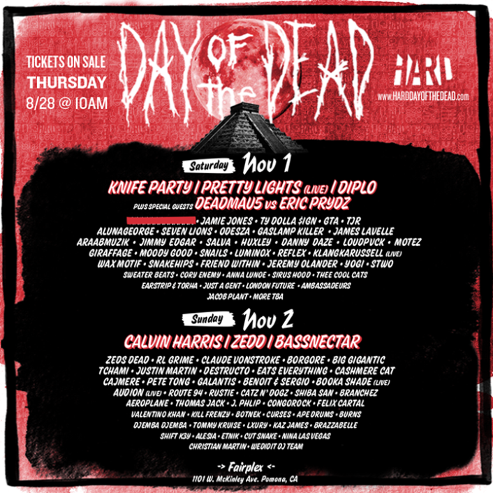 Hard Day Of The Dead 2014 Lineup Is The Best Yet Ft. Pretty Lights, Zedd, Deadmau5 vs Eric Prydz and Many More - Featured Image
