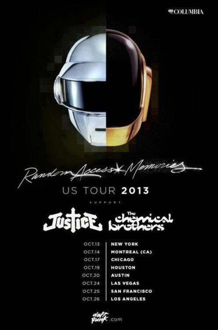 [BREAKING NEWS] Daft Punk Going on U.S. Random Access Memories 2013 Tour Dates with Justice & The Chemical Brothers - Featured Image
