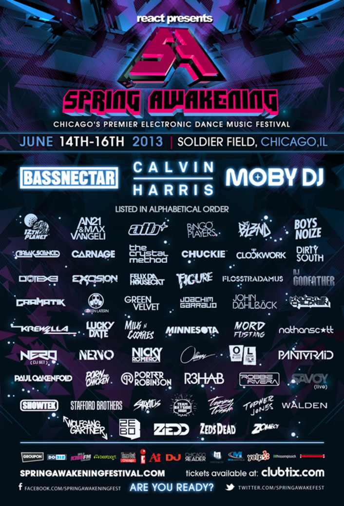Spring Awakening Music Festival 2013 Full Lineup: Including Nero, Pantyraid, Clockwork, Showtek, Moby, Bassnectar, Calvin Harris + 40 More! [TSIS PREMIERE] - Featured Image