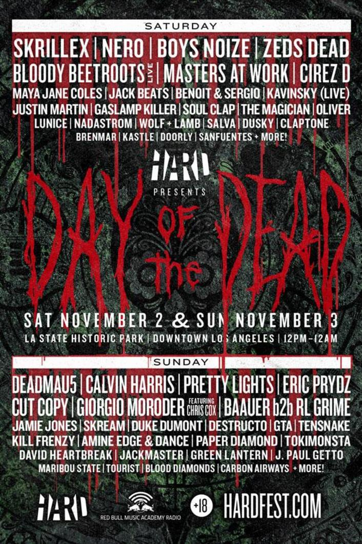 HARD Day of the Dead in LA 2013 Full Lineup + 2 Days Ft. Skrillex, Zeds Dead, Pretty Lights, Deadmau5 and More - Featured Image