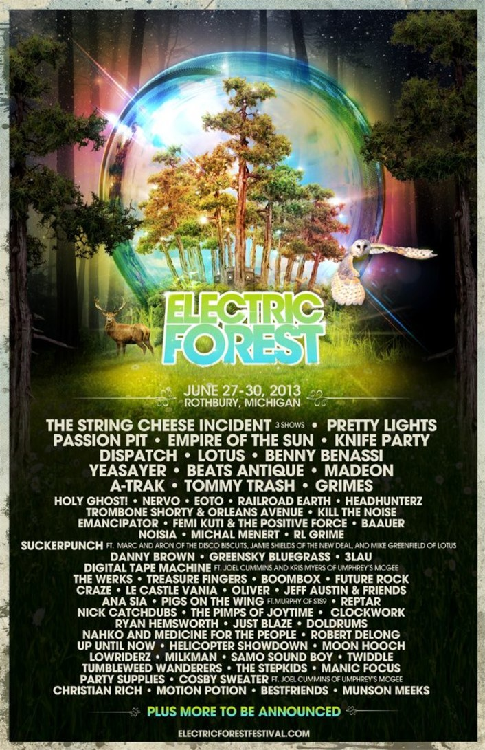 Electric Forest Festival 2013 Lineup : Huge Lineup for Incredible Festival Feat. Pretty Lights, Knife Party, Passion Pit & 50 More! - Featured Image